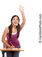 colegiala, hispano, levantado, clase, mano