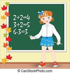 colegiala, lección, mathematics., school., espalda