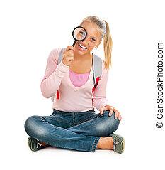 colegiala, o, estudiante, con, aumentar, vidrio., back to la escuela