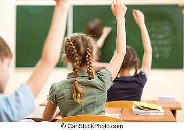colegiales, en, aula, en, lección