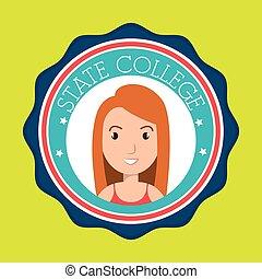 colegio, estado, mujer, emblema, estudiante