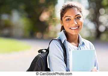 colegio, estudiante femenino, campus
