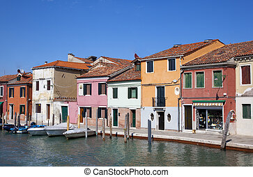 colerful houses in murano venice
