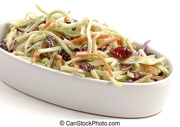 Coleslaw - Freshly made coleslaw on a white background.
