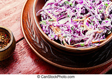 Coleslaw salad of red cabbage - Fresh vegetables salad with ...