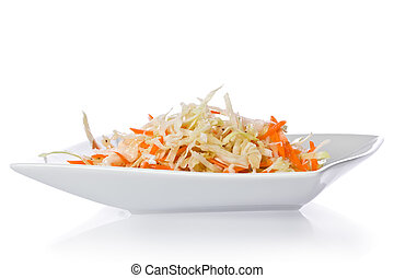 Coleslaw with simple vinaigrette on a white plate.