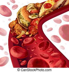 colesterol, bloqueado, arteria