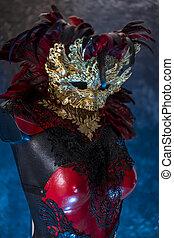 colete, breastplate., ouro, feito à mão, reuniões, ou, metal, máscara, pedaços, veneziano, vermelho, pretas, partidos traje, partido, piea, tecidos, vermelho, renda