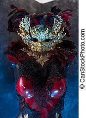 colete, renda, ouro, mascarada, feito à mão, reuniões, ou, metal, máscara, pedaços, veneziano, vermelho, pretas, partidos traje, partido, piea, tecidos, vermelho, breastplate.