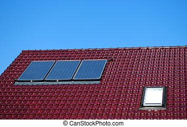 coletores, fornecer, casa, telhado, água, morno, solar, ont