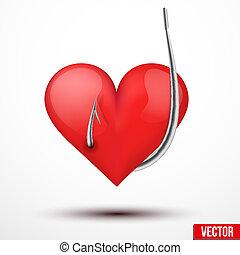 colgado, corazón, anzuelo, realista, grande