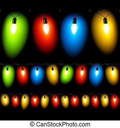 colgado, luces de navidad, en, negro