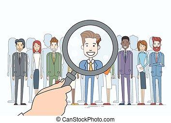 colheita, comércio pessoas, recrutamento, magnificar, candidato, pessoa, grupo, mão, vidro