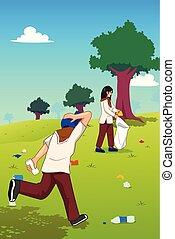 colheita, lixo, parque, cima, adolescentes