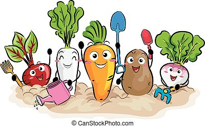 colheitas, raiz, ferramentas, jardim, mascote
