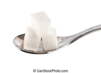 colher, cubos, açúcar