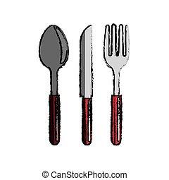 colher, garfo, ícone faca