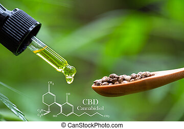 colher, pipeta, médico, óleo, cânhamo, fórmula, madeira, óleo, químico, cbd, sementes, cannabis, erva, conceito