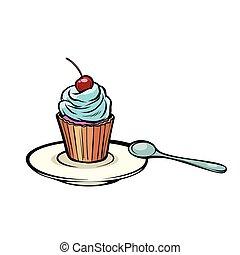 colher sobremesa, cupcake
