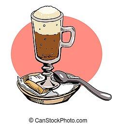 colher, tubo, vetorial, sugar., café, vidro, cacau
