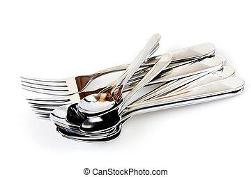 colheres, garfos, fundo branco, prateado