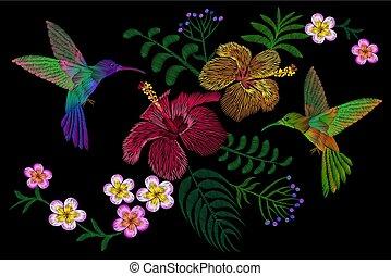 colibrí, alrededor, flor, plumeria, hibisco, exótico, tropical, verano, blossom., bordado, moda, remiendo, decoración, textil, impresión, fondo negro, plantilla
