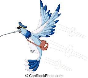 colibrí, con, un, cartero, bolsa