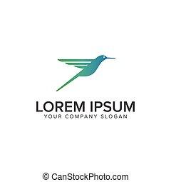 colibrí, logotipo, diseño, concepto, plantilla