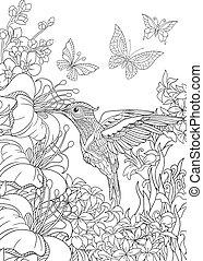 colibrí, mariposas, y, hibisco, flores