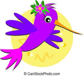 colibrí, y, hibisco, flor, bolsa