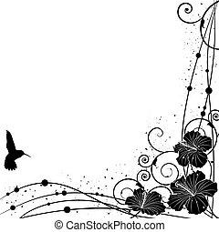 colibrí, y, hibisco