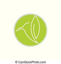 colibri green leaf design logo vector