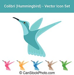 Colibri Hummingbird - Set Of Different Colored Birds Isolated On A White Background. Vector Illustration.