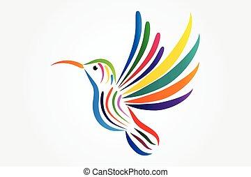 colibri, icône, logo, vecteur