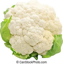 coliflor, plano de fondo, aislado, blanco