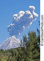 Colima volcano with steam eruption