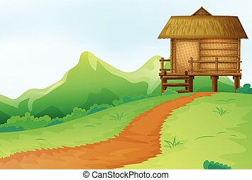colina, bangalô, cena, natureza
