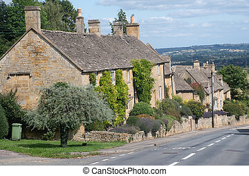 colina, bourton, tradicional, aldea, casas, fila, cotswold