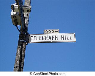 colina, calle, telégrafo, señal