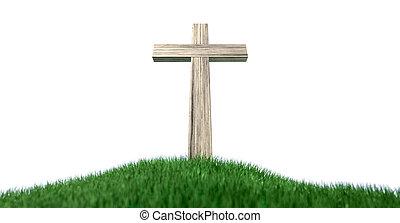 colina, crucifijo, herboso, aislado