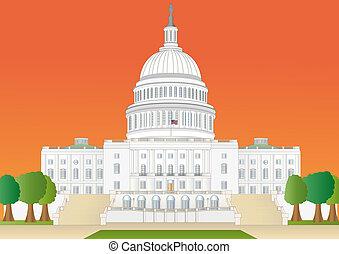 colina de capitol, en, puesta de sol