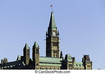 colina del parlamento, en, ottawa, canadá