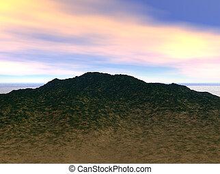 colina, e, céu
