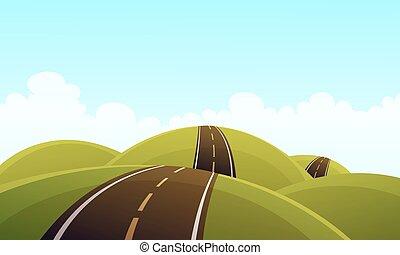 colina, estrada