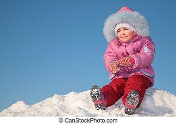 colina, niño, 2, nieve, sentarse