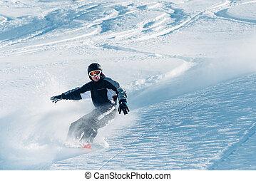 colina, snowboarder, equitación, nieve