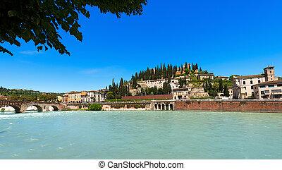 colina, y, ponte pietra, -, verona, italia