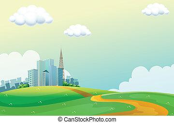 colinas, a través de, el, alto, edificios
