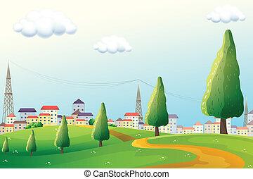 colinas, a través de, el, vecindad