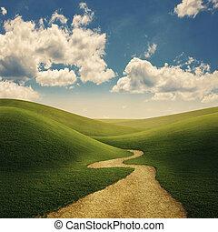 colinas, camino, herboso
